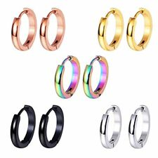 BodyJ4You 5 Pairs Earrings Hoops Huggie Steel Small Ear Black Rainbow Set