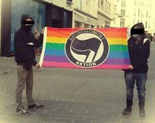 Large Anonymous Antifa Antifascist flag anti homophobe gay lesbian Anon 4chan