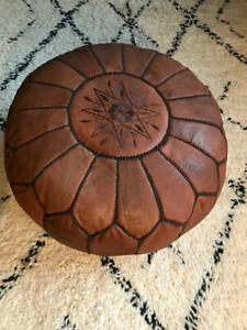 Handmade moroccan leather pouf.