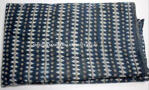 5 Yard Indian Blue Indigo Hand Block Print Cotton Fabric Dressmaking Sewing 1386