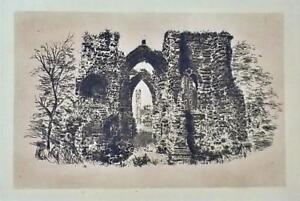 """Copper Etching The Ruins of St. Johns Priory Old Chester England 6.25"""" x 4.25"""""""