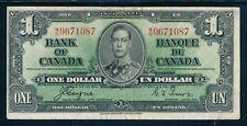 1937 BANK OF CANADA ONE DOLLAR/BANQUE DU CANADA UN DOLLAR #BC21d !!   NUB18