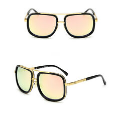Celebrity Square DESIGNER Luxury Flat Top Sunglasses Mens Womens Black Gold Pink Mirror Lens