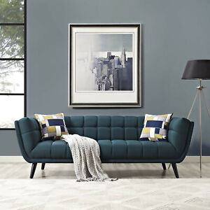 Mid-Century Modern Retro Tufted Fabric Upholstered Wood Leg Sofa Couch in Blue