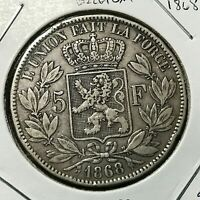 1868 BELGIUM SILVER 5 FRANCS CROWN COIN