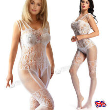 UK14 16 18 20 22 24 Plus+ Fishnet Waistcoat Bodystocking Lingerie White 77B