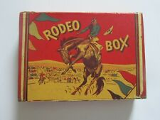 """VINTAGE 1950's  COWBOY """"RODEO BOX """" PENCIL BOX WITH 2  DIVIDER TRAYS, PENCILS"""