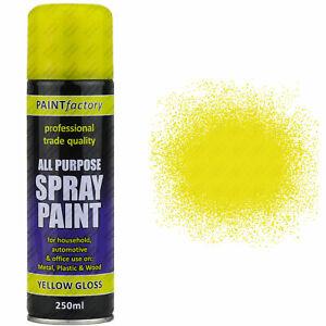 10 x 250ml All Purpose Yellow Gloss Spray Can House Car Van Bike Aerosol Paint