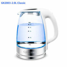 2.0L GLASS CORDLESS KETTLE ELECTRIC BLUE LED LIGHT 360 CLEAR JUG WHITE
