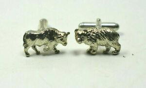Tiffany & Co Bull & Bear Stock Market Cufflinks Rare Sterling Silver & Pouch