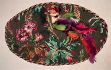 "SALE Ribbon and Stumpwork Embroidery of Pheasant in Tropical Paradise 21"" X 13"""
