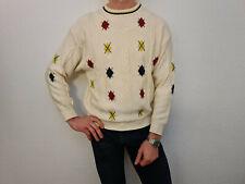 BOGNER Pullover Pulli Gr. 50 = M Vintage Creme/Weiß Rauten