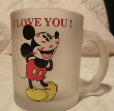 Mickey Mouse Frosted Coffee Cup Mug I Love You Kisses