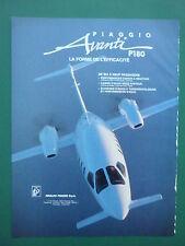 4/1988 PUB RINALDO PIAGGIO AVANTI P180 ITALIAN EXECUTIVE AIRCRAFT FRENCH AD