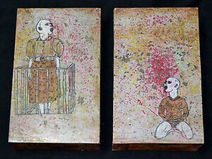 CARLOS SUAREZ DE JESUS 2001 Diptych Painting on Wood.Cuban American Fine art.