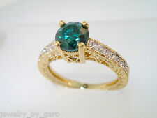 1.16 Carat Enhanced Blue Diamond Engagement Ring 18K Yellow Gold Vintage Style