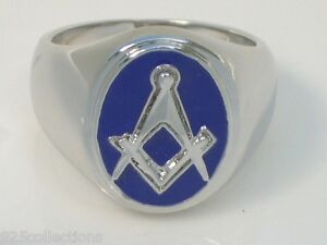 "Oval Blue Enamel No Stone No "" G "" Free Mason Masonic Men Ring Size 12"