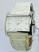 Unisex NAUTICA Stainless Steel Watch, White Leather Band, Analog, Quartz A08503