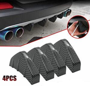 Car Lower Rear Body ABS Bumper Diffuser Shark Fin Kit Spoiler Carbon Fiber Style