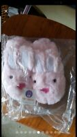 Stride Rite Pink Bunny Slipper Soft Fuzzy 9/10 Medium Girls Brand New.