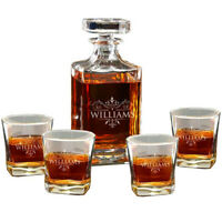 Personalised Whiskey Decanter Glasses Set Custom Engraved Wedding Gift