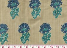 Floral Motif fr Italy Clarence House Hill Brown Upholstery Fabric Lucknow Cobalt