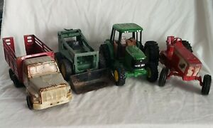 Lot Of 4 Vintage Ertl Tractors Stock Truck Skid Steer