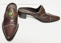 Franco Sarto Shoes Mules Slip Ons Leather Western Cowboy Brazil Brown  7.5 B