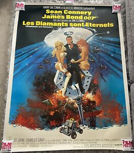 Diamonds Are Forever Original 1971 LINEN BACKED French One Panel Film Poster