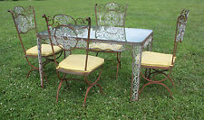 Vintage Woodard Wrought Iron Patio / Sunroom Dining Set Table & Chairs Great Set