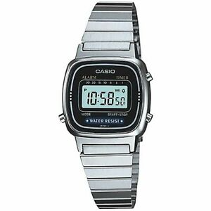 Casio Uhr LA670WEA-1EF Digital Damen Armbanduhr Silber Schwarz Watch NEU & OVP