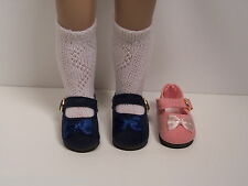 """Navy Blue Faux Suede Mary Jane Doll Shoes For 10"""" Ann Estelle Sophie Patsy Debs"""