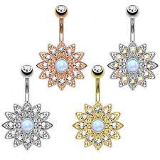 Bauchnabelpiercing Top Down Blume mit Kristallen und Opal