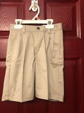 Size 6 Slim. Izod Boys School Uniform Khaki Beige Shorts Zipper Adjust Waist