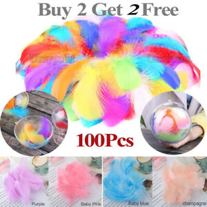100Pc Fluffy Swan Feathers 4-8cm Card Making Crafts & Bubble Balloons Decorate