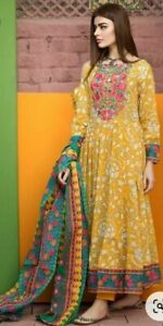 Indian Ethnic  Kurta Palazzo Set Cotton Anarkali With Palazzo And Dupatta Stitch