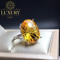 Natural Brazilian 10 Carat Citrine Fire Effect 925 Sterling Silver Women Rings