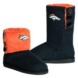 NFL Denver Broncos Knit Team Color High End Button Women Boot Slipper - S Size
