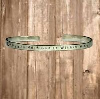 Psalm 46:5 God Is Within Her Personalize Cuff Bracelet Jewelry Hand Stamped 1/4""