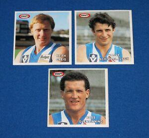 1985 Kraft VFL Football Stickers Schimmelbusch, Greig, Glendinning Kangaroos