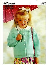 Patons Beehive Soft Blend DK KNITTING PATTERN, Girls CARDIGAN