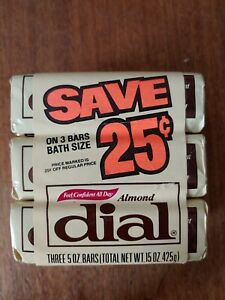Vintage Dial 3 pack 5 oz bars Almond new in wrapper