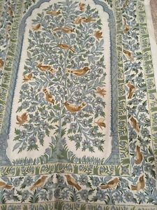 WOOL? Rug TAPESTRY Chain Stitch Crewel Floral BIRDS Blue Brown 47x73