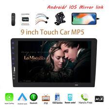 9''1 Din Car Radio Carplay Siri Android+Camera FM MP5 Player BT iOS Mirror Link