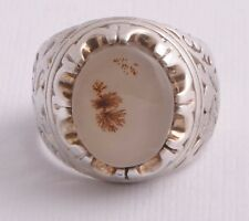 agate aqeeq aqiq Silver Men Ring-yemen-yemeni