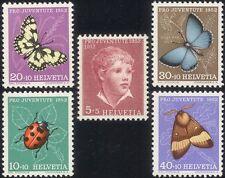 Switzerland 1952 Ladybird/Butterflies/Moth/Beetle/Insects/Nature 5v set (n46002)