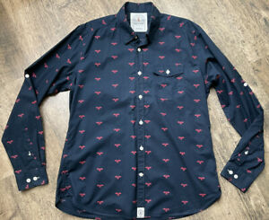 Barbour Beacon Navy Red All Over Print L/s Roll Tab Cotton Shirt Size L Vgc #A