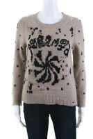 Marc Jacobs Womens Sweater Brown Black Beaded Distressed Size Extra Small