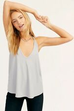 Urban Outfitters Free People Grey Ribbed Halterneck Slinky Tank Top L UK 12 BNWT