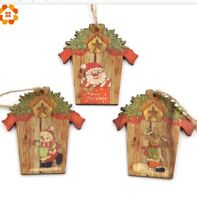 9Pcs Wood Snowflake Rustic Christmas Decorations For Xmas Tree Hanging Ornament